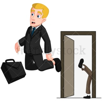 Business man getting fired. PNG - JPG and vector EPS (infinitely scalable). Image isolated on transparent background.