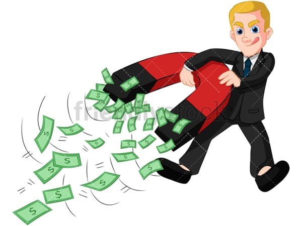 Businessman holding money magnet. PNG - JPG and vector EPS (infinitely scalable). Image isolated on transparent background.