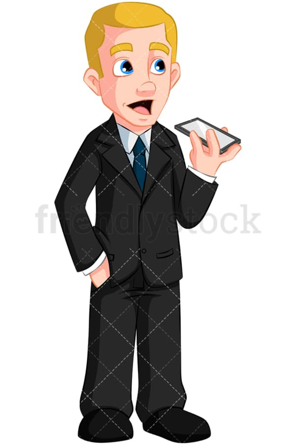 Businessman making a call on speaker. PNG - JPG and vector EPS (infinitely scalable). Image isolated on transparent background.