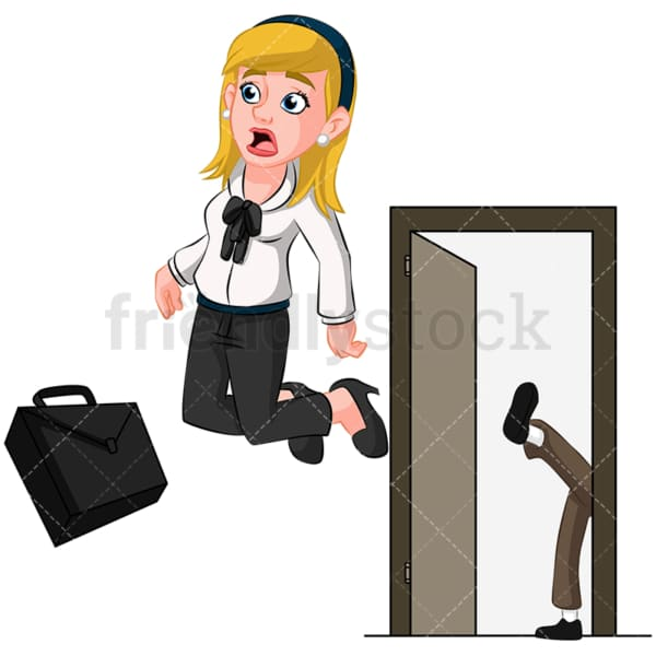 Businesswoman being kicked out. PNG - JPG and vector EPS (infinitely scalable). Image isolated on transparent background.