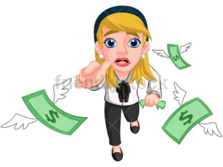 Businesswoman chasing money. PNG - JPG and vector EPS (infinitely scalable). Image isolated on transparent background.