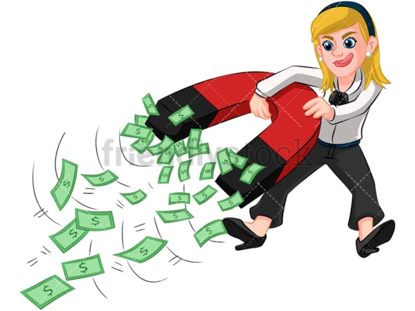 Businesswoman holding money magnet. PNG - JPG and vector EPS (infinitely scalable). Image isolated on transparent background.