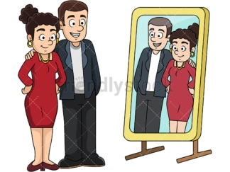 Couple looking in the mirror. PNG - JPG and vector EPS file formats (infinitely scalable). Image isolated on transparent background.