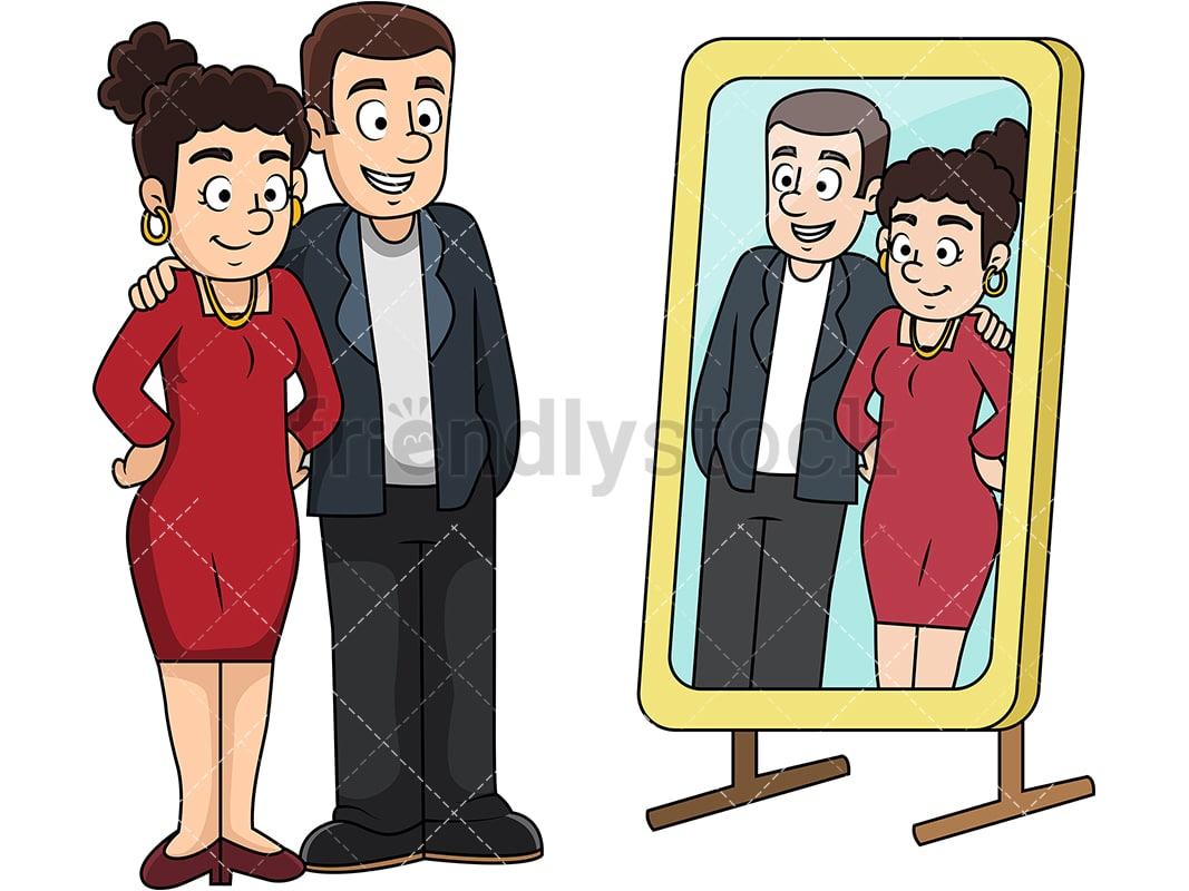 Cartoon Man And Woman Looking In The Mirror Vector Clipart