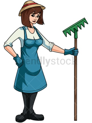 Female gardener holding rake. PNG - JPG and vector EPS file formats (infinitely scalable). Image isolated on transparent background.