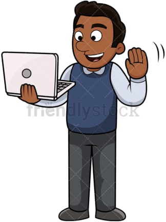 Happy black man video chatting. PNG - JPG and vector EPS file formats (infinitely scalable). Image isolated on transparent background.
