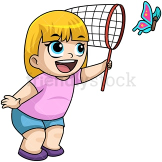 Happy girl chasing butterfly. PNG - JPG and vector EPS file formats (infinitely scalable). Image isolated on transparent background.