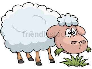 Happy sheep eating grass. PNG - JPG and vector EPS file formats (infinitely scalable). Image isolated on transparent background.