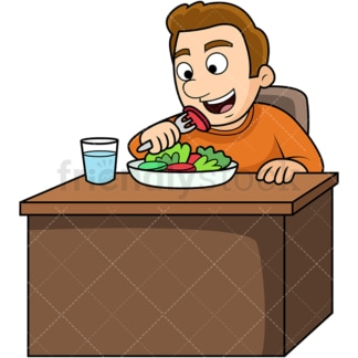 Man enjoying salad. PNG - JPG and vector EPS. Image isolated on transparent background.