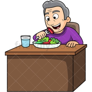 Old man enjoying salad. PNG - JPG and vector EPS. Image isolated on transparent background.