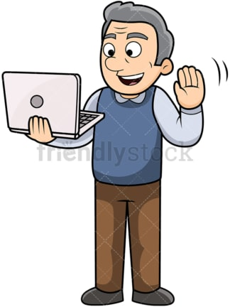 Old man using laptop to video chat. PNG - JPG and vector EPS file formats (infinitely scalable). Image isolated on transparent background.