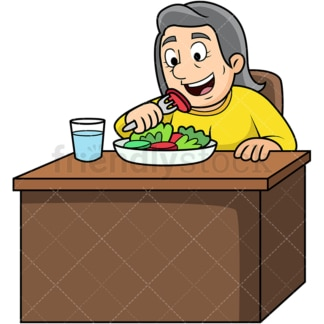 Old woman enjoying salad. PNG - JPG and vector EPS. Image isolated on transparent background.