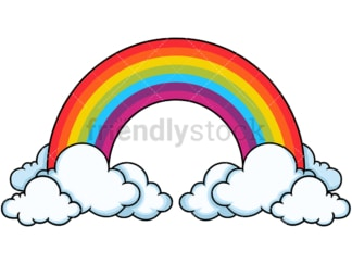 Tall rainbow in the clouds. PNG - JPG and vector EPS file formats (infinitely scalable). Image isolated on transparent background.