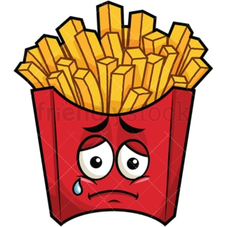 Teared up sad french fries emoticon. PNG - JPG and vector EPS file formats (infinitely scalable). Image isolated on transparent background.