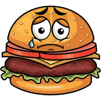 Teared up sad hamburger emoticon. PNG - JPG and vector EPS file formats (infinitely scalable). Image isolated on transparent background.