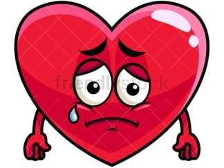 Teared up sad heart emoticon. PNG - JPG and vector EPS file formats (infinitely scalable). Image isolated on transparent background.