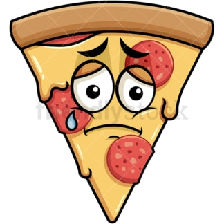 Teared up sad pizza emoticon. PNG - JPG and vector EPS file formats (infinitely scalable). Image isolated on transparent background.