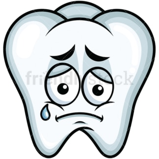 Teared up sad tooth emoticon. PNG - JPG and vector EPS file formats (infinitely scalable). Image isolated on transparent background.
