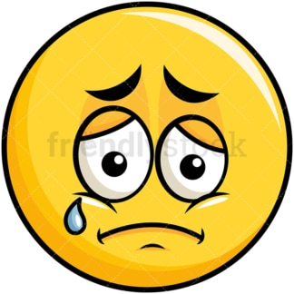 Teared up sad yellow smiley emoticon. PNG - JPG and vector EPS file formats (infinitely scalable). Image isolated on transparent background.