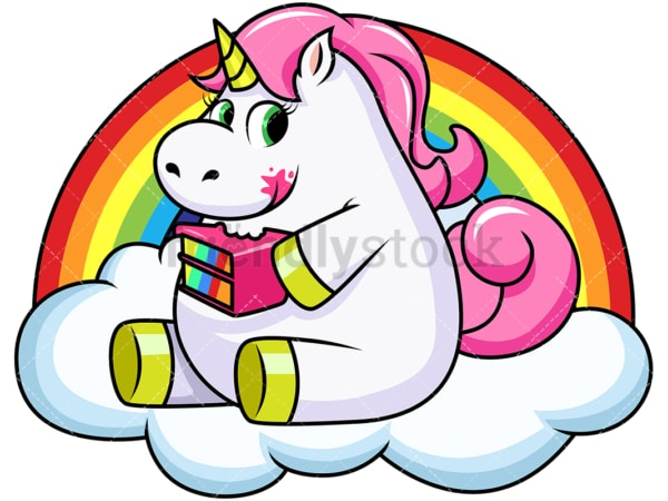 Unicorn eating cake. PNG - JPG and vector EPS file formats (infinitely scalable). Image isolated on transparent background.