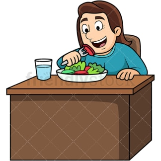 Woman enjoying salad. PNG - JPG and vector EPS. Image isolated on transparent background.