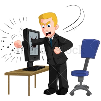 Angry businessman punching computer. PNG - JPG and vector EPS (infinitely scalable). Image isolated on transparent background.