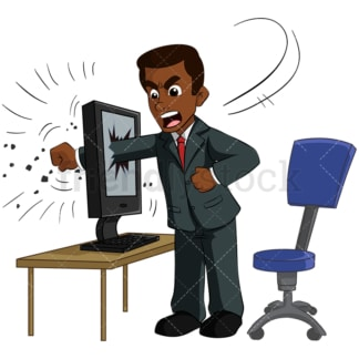 Black businessman punching computer. PNG - JPG and vector EPS (infinitely scalable). Image isolated on transparent background.