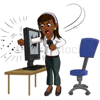 Black businesswoman breaking computer. PNG - JPG and vector EPS (infinitely scalable). Image isolated on transparent background.