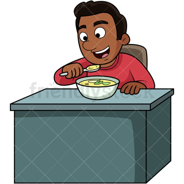 Black man enjoying soup. PNG - JPG and vector EPS. Image isolated on transparent background.