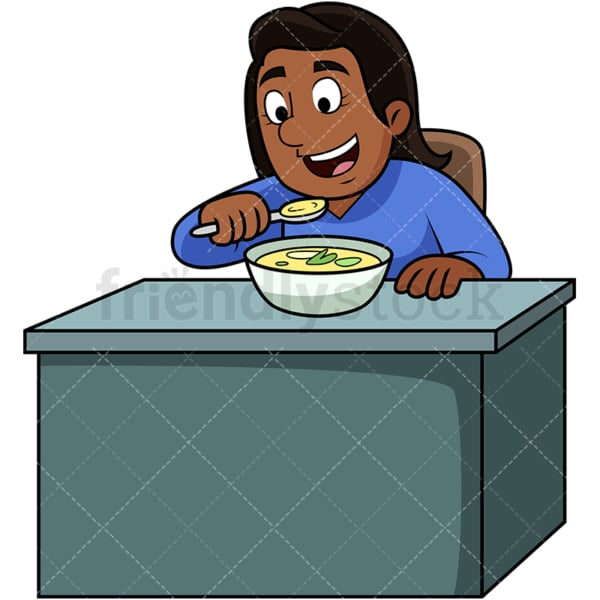 Black woman enjoying soup. PNG - JPG and vector EPS. Image isolated on transparent background.