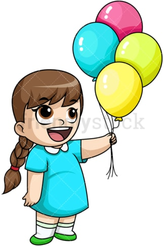 Happy girl holding balloons. PNG - JPG and vector EPS file formats (infinitely scalable). Image isolated on transparent background.