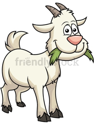 Happy goat eating grass. PNG - JPG and vector EPS file formats (infinitely scalable). Image isolated on transparent background.