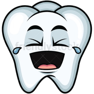 Laughing lol tooth emoticon. PNG - JPG and vector EPS file formats (infinitely scalable). Image isolated on transparent background.