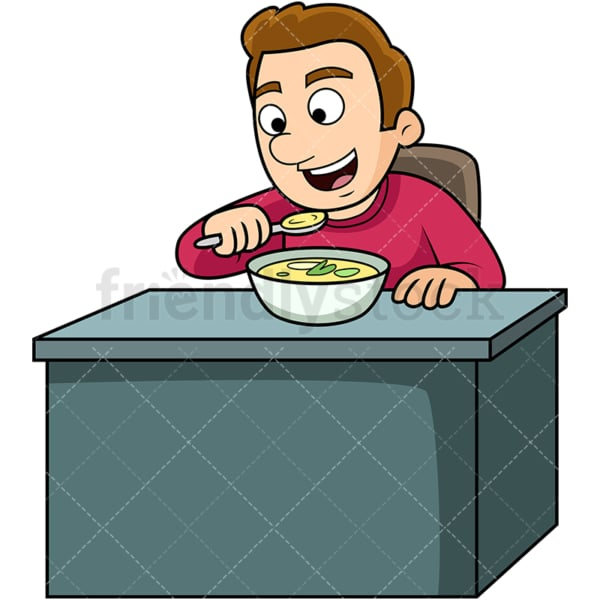 Man enjoying soup. PNG - JPG and vector EPS. Image isolated on transparent background.