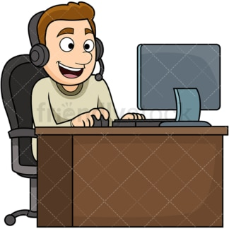 Man wearing headset using computer. PNG - JPG and vector EPS file formats (infinitely scalable). Image isolated on transparent background.