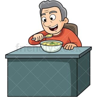Old man enjoying soup. PNG - JPG and vector EPS. Image isolated on transparent background.
