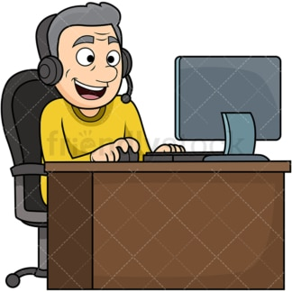 Old man wearing headset. PNG - JPG and vector EPS file formats (infinitely scalable). Image isolated on transparent background.