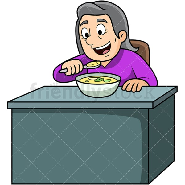 Old woman enjoying soup. PNG - JPG and vector EPS. Image isolated on transparent background.