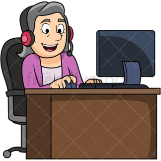 Old woman wearing headset. PNG - JPG and vector EPS file formats (infinitely scalable). Image isolated on transparent background.