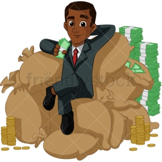 Rich black businessman with his money. PNG - JPG and vector EPS (infinitely scalable). Image isolated on transparent background.