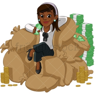 Rich black businesswoman enjoying money. PNG - JPG and vector EPS (infinitely scalable). Image isolated on transparent background.
