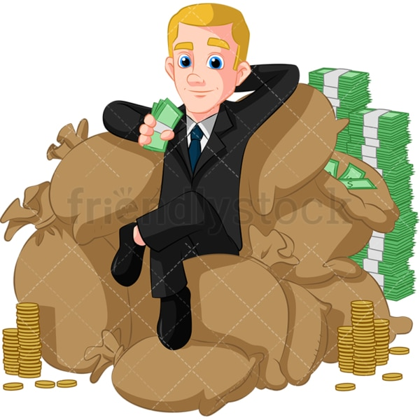 Rich businessman on pile of money. PNG - JPG and vector EPS (infinitely scalable). Image isolated on transparent background.