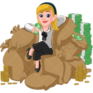 Rich businesswoman on pile of money. PNG - JPG and vector EPS (infinitely scalable). Image isolated on transparent background.