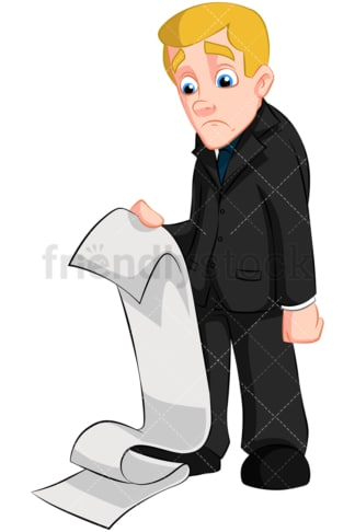 Sad businessman holding massive bill. PNG - JPG and vector EPS (infinitely scalable). Image isolated on transparent background.