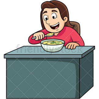 Woman enjoying soup. PNG - JPG and vector EPS. Image isolated on transparent background.