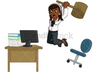 Angry black businesswoman had enough. PNG - JPG and vector EPS (infinitely scalable). Image isolated on transparent background.