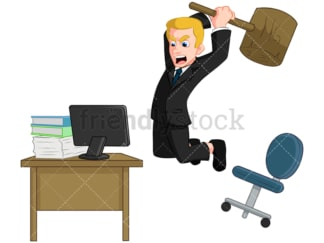 Angry businessman smashing computer. PNG - JPG and vector EPS (infinitely scalable). Image isolated on transparent background.