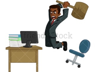 Black businessman destroying computer. PNG - JPG and vector EPS (infinitely scalable). Image isolated on transparent background.