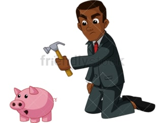 Black businessman tapping into savings. PNG - JPG and vector EPS (infinitely scalable). Image isolated on transparent background.