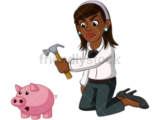 Black businesswoman opening piggy bank. PNG - JPG and vector EPS (infinitely scalable). Image isolated on transparent background.